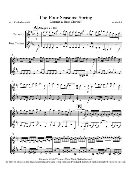 the four seasons spring clarinet bass clarinet sheet music pdf download -  coolsheetmusic.com  download sheet music and notes in pdf format