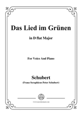 Schubert Das Lied Im Grnen Op 115 No 1 In D Flat Major For Voice Piano