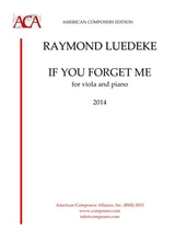 Luedeke If You Forget Me Viola And Piano